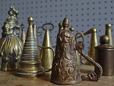 detail of a collection of antique dowsers