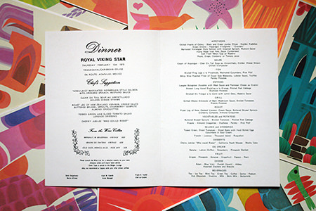 Vintage Royal Viking Star dinner menu
