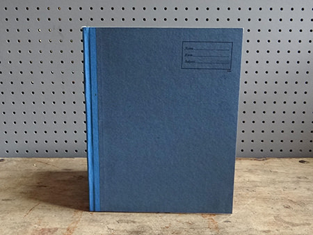 vintage blue covered exercise book