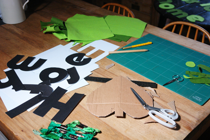 making felt letters for bunting for H is for Home's 1st vintage fair