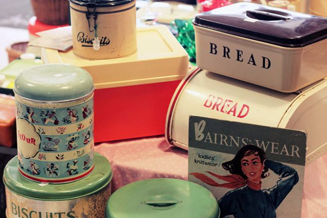 Vintage bread and biscuit tins on a stall at the Festival of Vintage, York