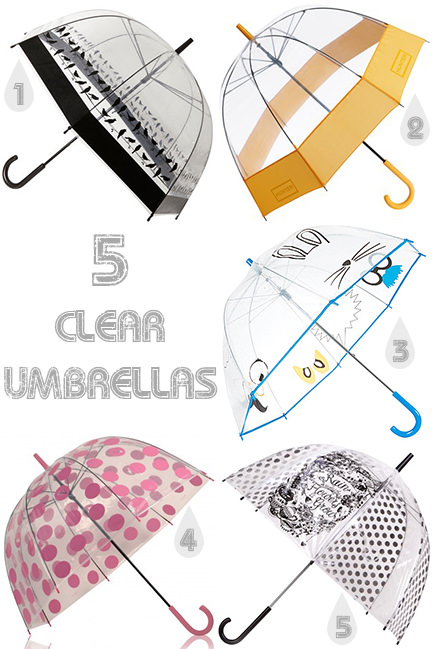 Selection of 5 clear umbrellas | H is for Home