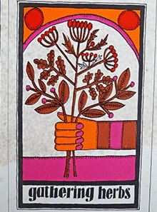 'Gathering herbs' vintage Habitat kitchen card