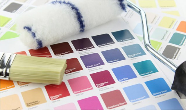 Paint cards, piantbrush and paint roller
