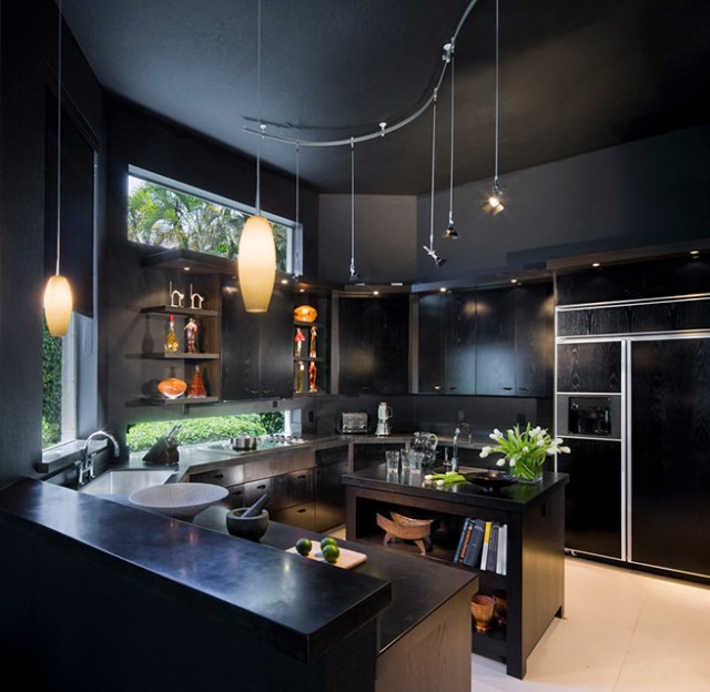 All black kitchen