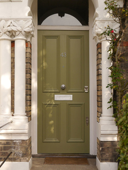 Army green painted front door