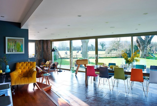 Colourful open plan living space