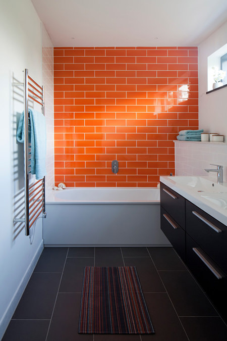 orange tiled bathroom
