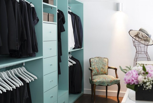 Tiffany Blue clothes cupboard and drawers in a dressing room