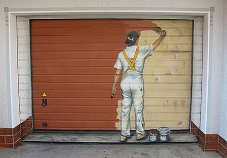 painting garage door mural