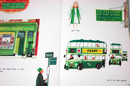 page from vintage book, 'This is Ireland' by Miroslav Sasek featuring Irish green double-decker buses | H is for Home