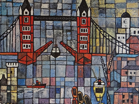 Detail from a vintage Ken Law Tower Bridge print | H is for Home