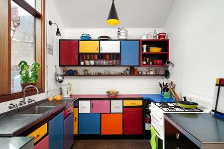 Colour block kitchen cabinet doors
