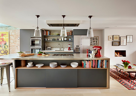 Grey open plan kitchen with island