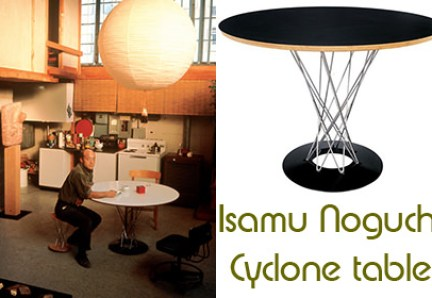 Vintage & reproduction Isamu Noguchi Cyclone tables side by side