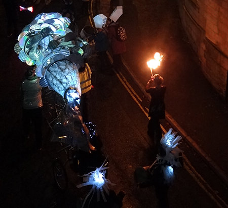 Fire performer at Todmorden's Lamplighter Festival 2014