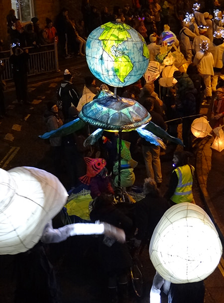 Globe lantern at the Todmorden Lamplighter Festival 2014