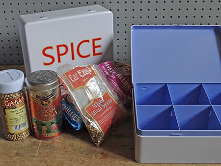 Spice storage tins with spices from Millett and More | H is for Home