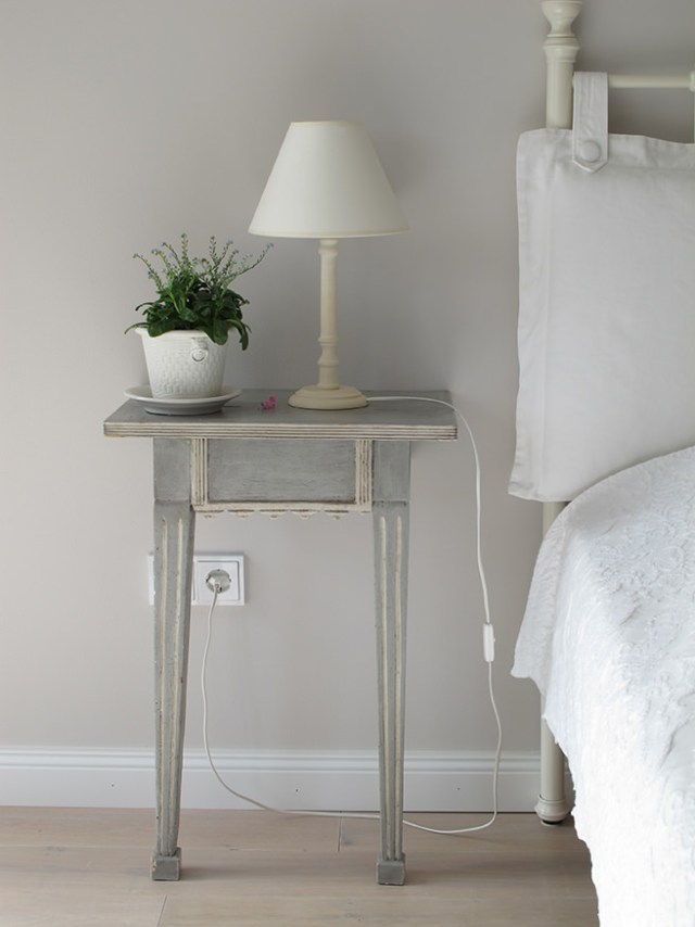 Bedside vignette in neutral tones