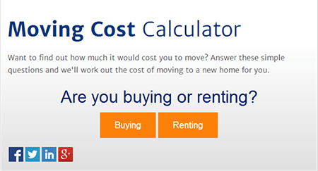 Moving cost calculator on the Everyday Loans website