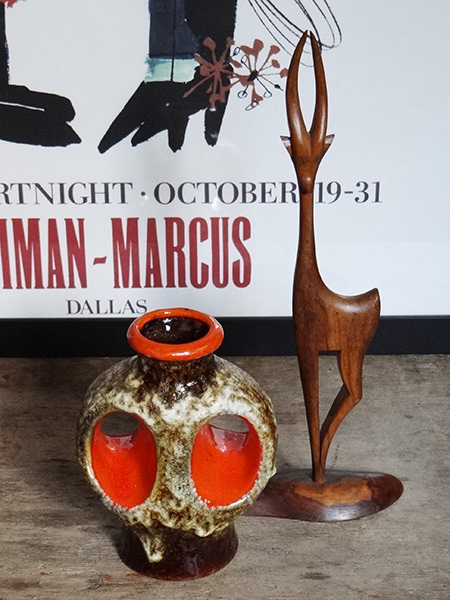 Vintage Dumler Breiden 'fat lava' West German vase with wooden deer figure