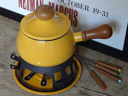 Yellow vintage fondue set