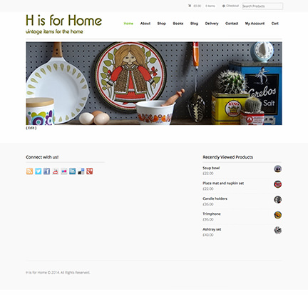 Newly designed H is for Home website home page screenshot