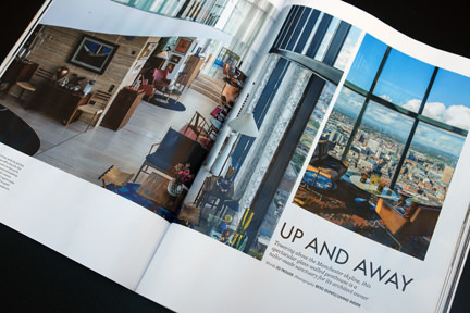 page showing view from Manchester's Beetham Tower in the Elle Decoration September 2013 magazine