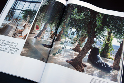 page showing indoor olive grove in Manchester's Beetham Tower in the Elle Decoration September 2013 magazine