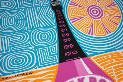 detail of original vintage 'Blackpool' travel poster