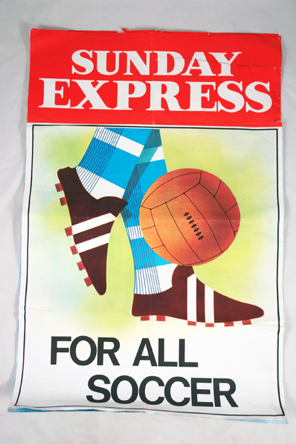 vintage 1960s Sunday Express bill poster illustrating 'Soccer'