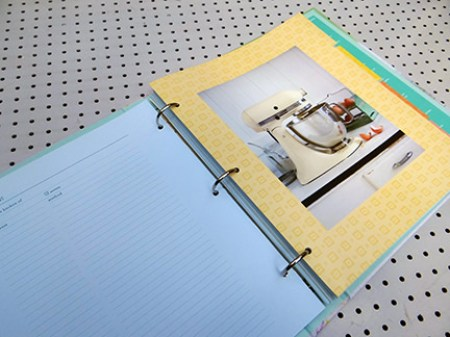 Recipe organiser showing a section divider with a photograph of a Kitchen Aid