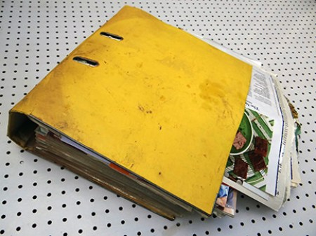 Old recipe ring binder damaged by flooding