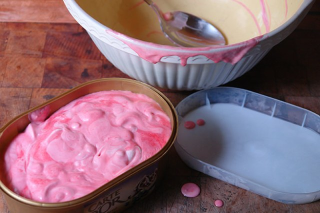 Home-made redcurrant ice cream before putting it into the freezer | H is for Home
