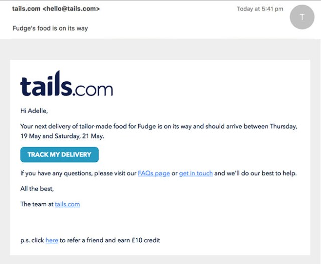 Fudge's tails.com email order confirmation   H is for Home