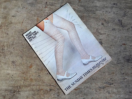 Original Sunday Times magazine cover from 1966 featuring white stockinged legs and shoes