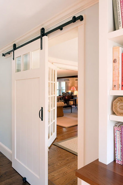 internal white sliding barn door