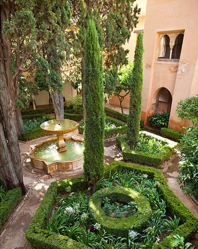 Cypress trees in a Tuscan garden