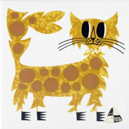 vintage Kenneth Townsend designed tile of a cat from the Menagerie series | H is for Home