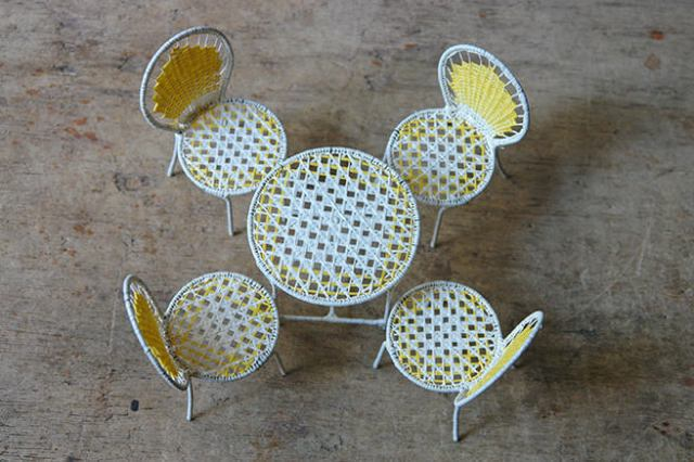 Toy miniature woven garden table & chairs | H is for Home