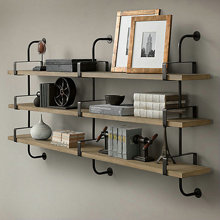Vintage industrial wall-mounted shelving