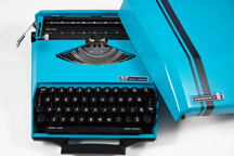 vintage 1970s electric blue portable Smith Corona designed by Ghia   H is for Home