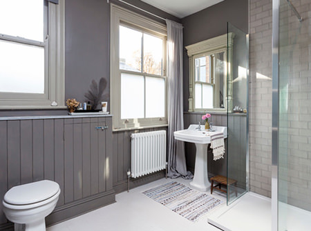 Grey, vintage-inspired bathroom