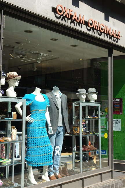 turquoise vintage crocheted maxi-dress in the window of Oxfam Originals, Oldham Street, Manchester
