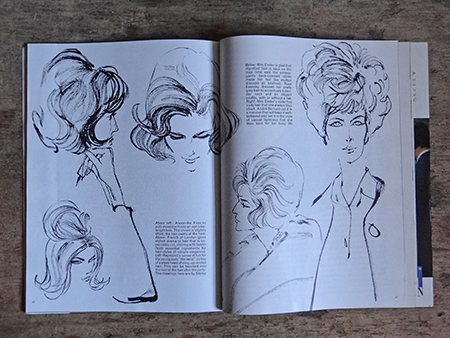 Line drawings of hairstyles in Vogue Magazine, February 1962