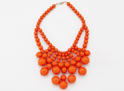 coral colour bauble necklace from Oliphant, New York