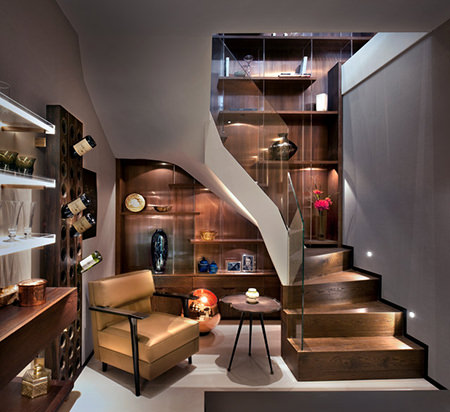 Basement wine cellar & seating area in a boutique mews house