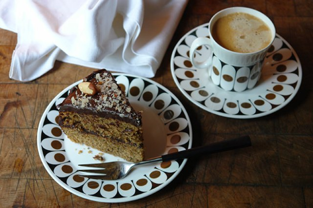 Slice of home-made double espresso brazil nut cake and double espresso in vintage 'Black Velvet' china | H is for Home