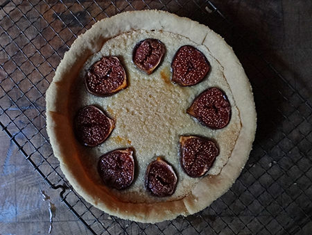 Home-made honey-roasted fig & marzipan tart