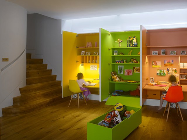 Colourful, built-in children's play area